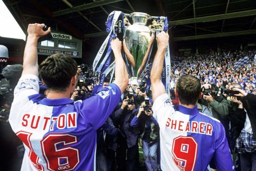 14/05/95 FA Premiership Liverpool v Blackburn Rovers Alan Shearer and Chris Sutton hold aloft the Premiership Cup Credit: Offside Sports Photography / Mark Leech
