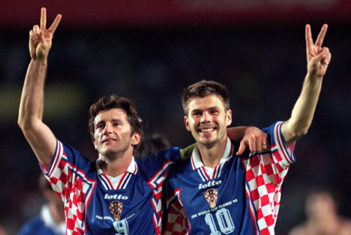 Croatia's Davor Suker (left) and Zvonimir Boban (right) celebrate at the end of the match